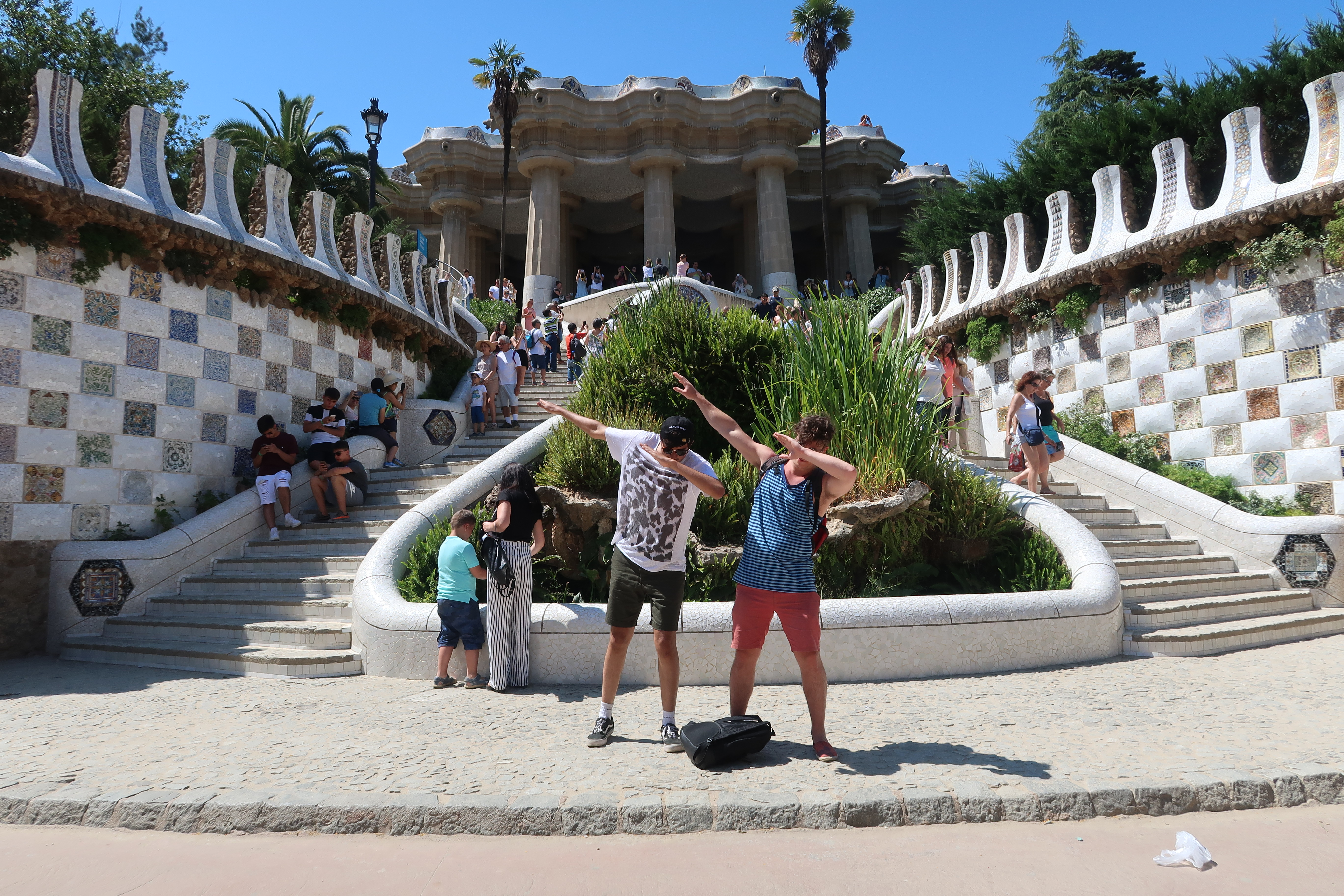 Friends dab in Parc Guell Barcelona