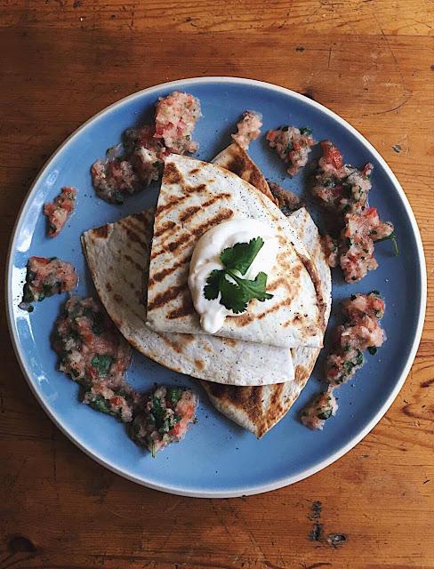 refried bean quesadillas with pico de gallo