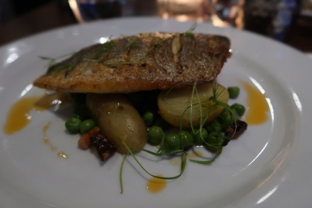 Pan fried black bream at Oxford Brasserie, Southampton