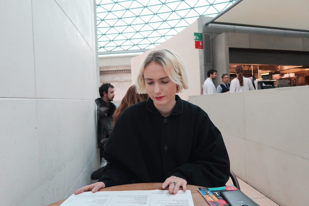 Sat in the Great Court, the British Museum, London