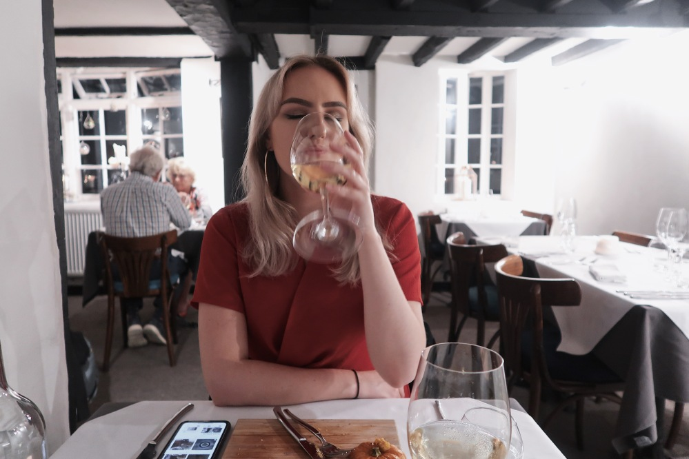 Girl drinking white wine, The Elderflower, Lymington