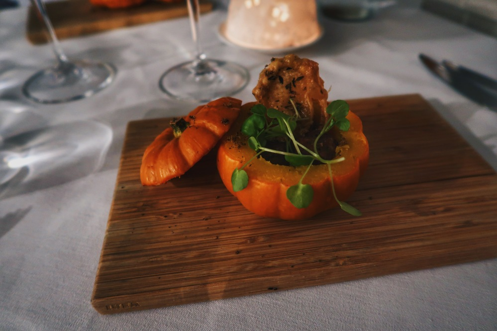Roasted pumpkin and crispy chicken skin at The Elderflower restaurant, Lymington