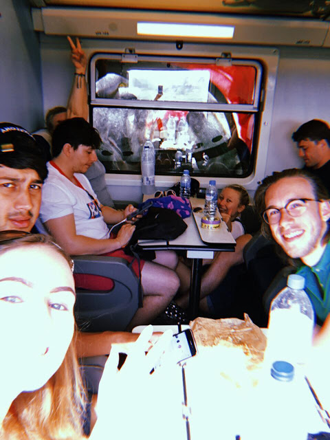 group of people on a train