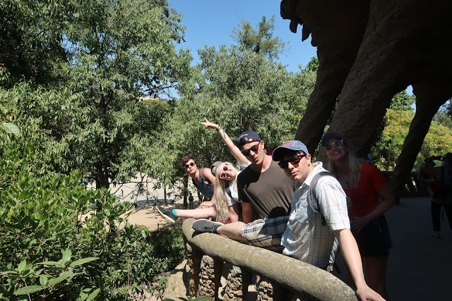 group of tourists at park guell, barcelona
