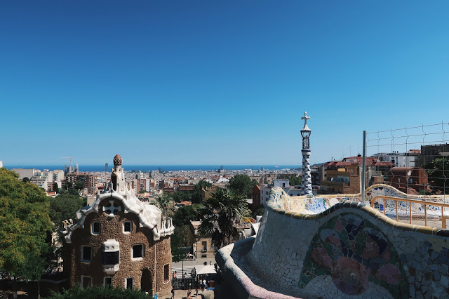 view from the platform at park guell, barcelona
