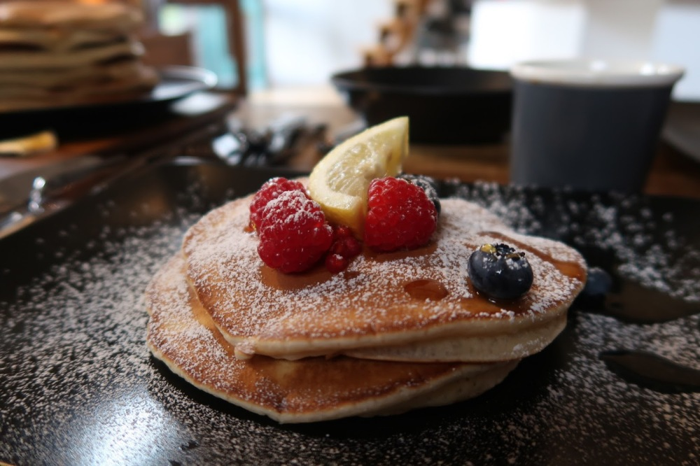 Berries on American Style Pancakes