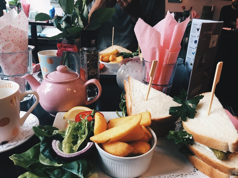 Fish finger sandwiches in Halladay's Tearooms, Southampton