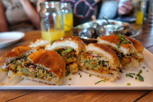 aloo tikki sliders at Dhaba 59 in Southampton