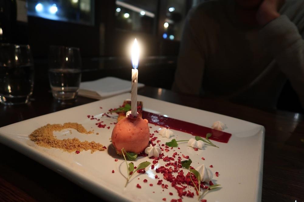 Lemon tart and raspberry sorbet at The Oxford Brasserie, Southampton