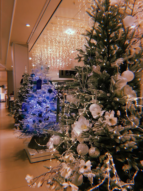 John Lewis Christmas trees decorated in moonstone
