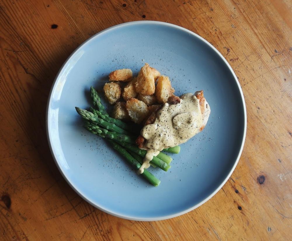 Dijon cream chicken with duck fat roast potatoes