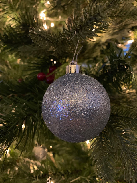 Silver glittery bauble ornament