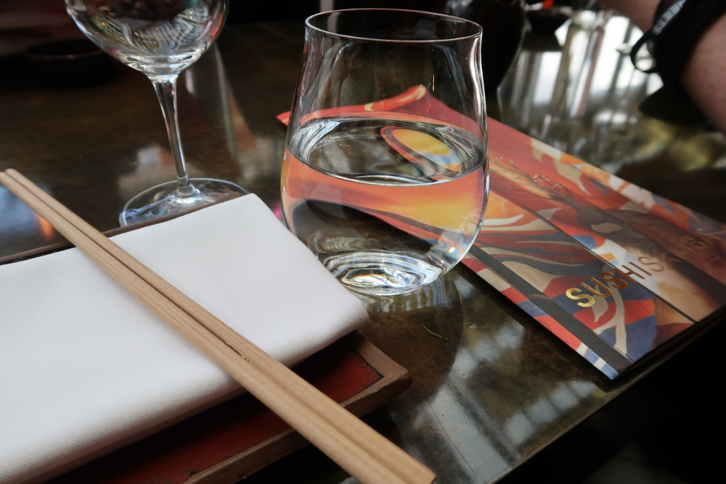 Menu and water glass, SUSHISAMBA, Covent Garden, London
