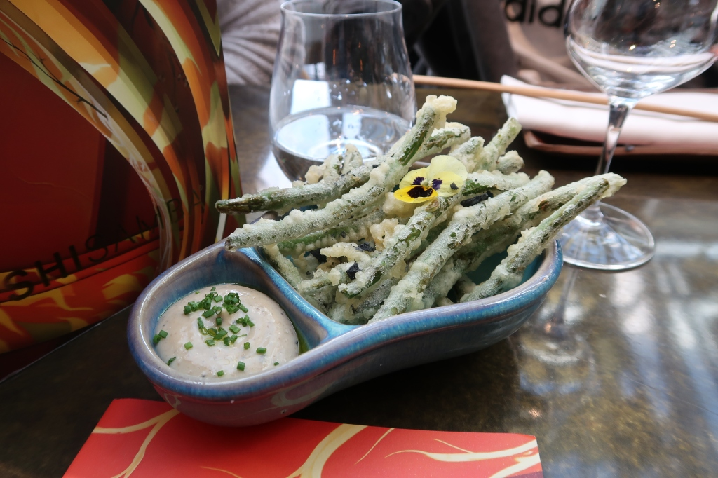 Green bean tempura with black truffle mayo at SUSHISAMBA, Covent Garden