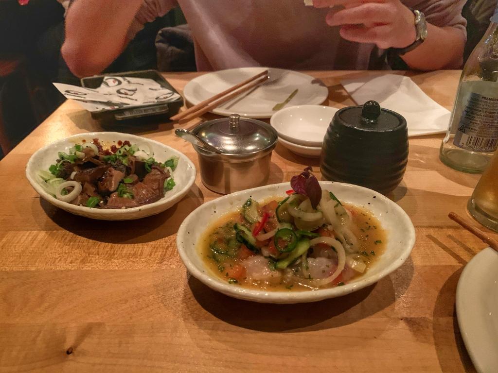 Pickled shiitake mushrooms and seabass ceviche at Shackfuyu, London